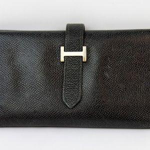 "Hermes ""My Sore Bearn"" Black Leather Wallet"